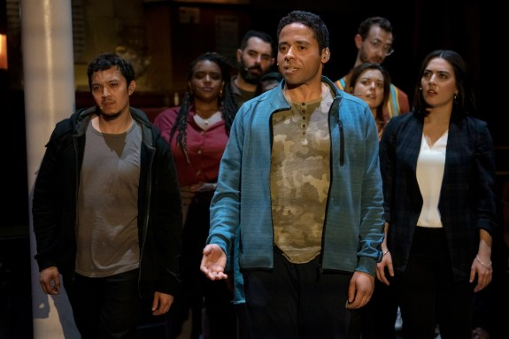 Cast of Octet, left to right: Justin Gregory Lopez as Toby, Starr Busby as Paula, Adam Bashian as Ed, J.D. Mollison as Marvin (in front), Margo Seibert as Jessica, Alex Gibson as Henry, Kuhoo Verma as Velma