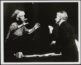 "Billie Whitelaw and Samuel Beckett rehearsing ""Rockaby"". in 1984"