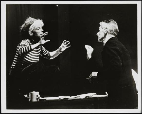 "Billie Whitelaw and Samuel Beckett rehearsing ""Rockaby"". in 1984"