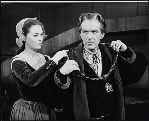 "Faye Dunaway as Margaret More and William Roderick as Sir Thomas More in ""A Man for All Seasons"" 1963"