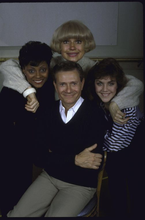 "Actresses (L-R) Leslie Uggams, Carol Channing & Andrea McArdle w. composer Jerry Herman (C) in a publicity shot for the tour of the musical revue ""Jerry's Girls,"" 1984"