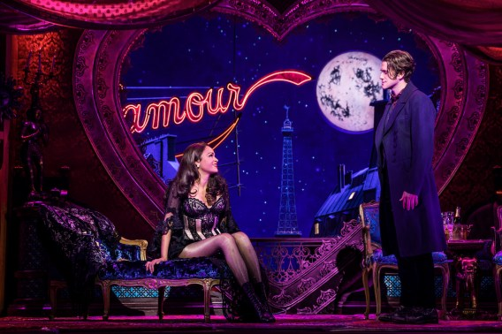 Karen Olivo as Satine and Aaron Tveit as Christian