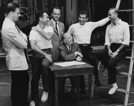 West Side Story creative team From left to right: Stephen Sondheim (lyrics), Arthur Laurents (book), Hal Prince (producer), Robert E. Griffith (producer), Leonard Bernstein (music), and Jerome Robbins (director). 1957