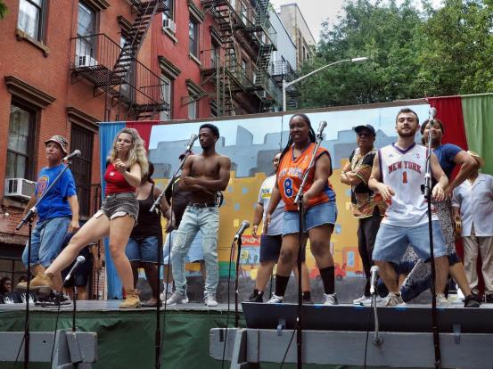 "Street theater, like this production of ""No Brainer"" from Theater for the New City in 2018, will get a boost in New York City thanks to the Open Culture Program passed into city law in December. This production was free, but theater companies and other performing arts groups can start selling tickets to outdoor productions."
