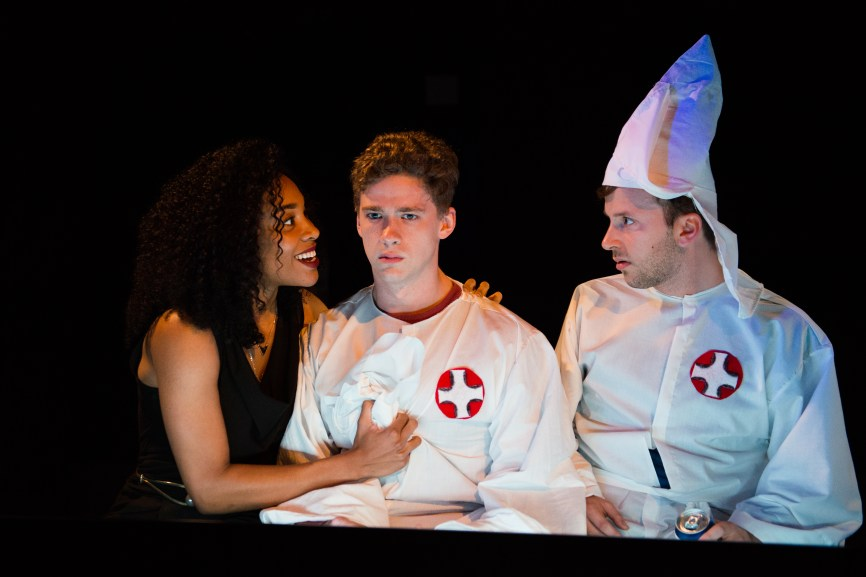 """Sincerity Forever,"" one of the five plays in Perfect Catastrophes, a festival of Mac Wellman plays, takes place in a fictional Southern town named Hillsbottom. Jesus H. Christ, a black woman, comes visiting and the town's teenagers, dressed casually in Klu Klux Klan's outfits, are oblivious. In the first of several memorable moments, two of the teens admit that they are ignorant - ""I don't know why the sky is blue, and I don't know what 'blue' is, and I don't know why I don't know,"" -- but conclude that their ignorance must nonetheless somehow be God's plan. ""the most important thing is not what you know, but whether you're sincere or not."""