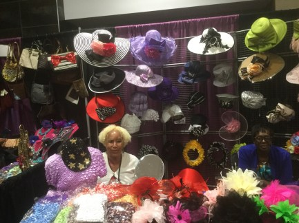 A vendor of women's hats