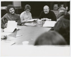 Michael Bennett, Ruth Mitchell and Harold Prince during rehearsals for the stage production Company, around 1970.