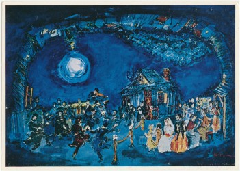 Wedding dance: set design for the stage production Fiddler on the Roof by set designer Boris Aronson (1900-1980)