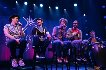 Anthony Veneziale, Lin-Manuel Miranda, Arthur Lewis, Utkarsh Ambudkar, and Chris Sullivan