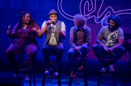 Aneesa Folds, Wayne Brady, Arthur Lewis, and Daveed Diggs in Freestyle Love Supreme