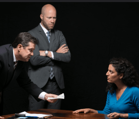 """William Ragsdale (left), Greg Brostrom (center), and Soraya Broukhim (right) in a scene from """"The Hope Hypothesis"""" by Cat Miller at the Sheen Center"""