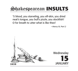 Shakespeare insult desk calendar