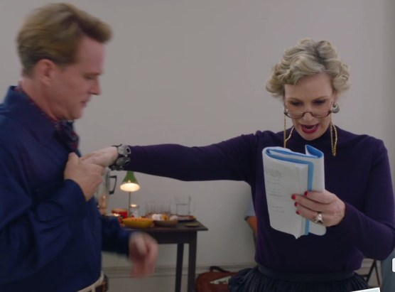 "Cary Elwes as a great Broadway actor and Jane Lynch as Sophie Lennon, the vulgar comedian, during a rehearsal of Strindberg's ""Miss Julie"" in The Marvelous Mrs. Maisel"