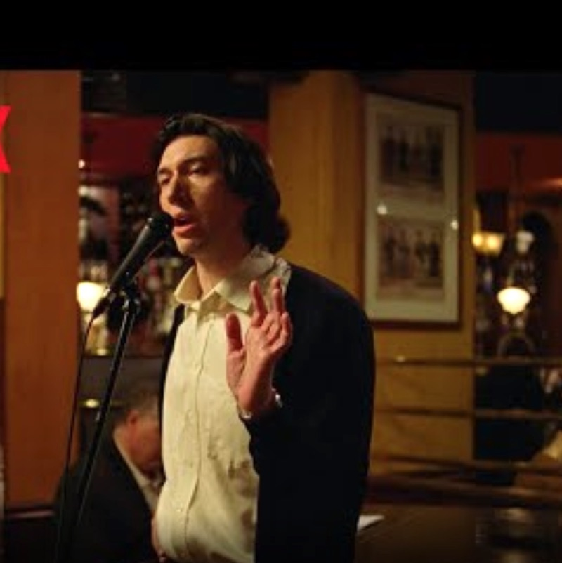 "Adam Driver, nominated for best performance for an actor in a leading role in ""Marriage Story."" (Here he Charlie the theater director singing Sondheim's ""Being Alive"" in a theater bar in New York.) Three time Broadway veteran, 2019 Tony nominee for ""Burn This"""