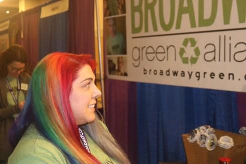 Rainbow-haired staffer at Broadway Geren Alliance