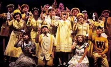 Ann Harada in Seussical (second row, far left in the yellow pillbox hat, waving.) I knew I could sing even as a kid, but I did not know that anybody wanted to hear me particularly I loved doing this musical. To be in a big musical, to get to dance on stage. I'm not a dancer so just to be even to be able to learn that choreography I was so proud of myself Just because I was in an ensemble with a show and I had to you know kind of step up to that level of performance