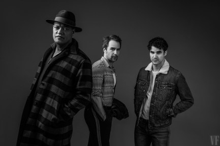 The cast of American Buffalo, Laurence Fishburne, Sam Rockwell and Darren Criss, scheduled to open on Broadway when Broadway reopens.