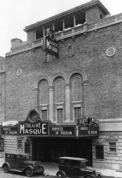 "The John Golden Theatre opened in 1927 as the Masque Theatre, its first show ""Puppets of Passion."""