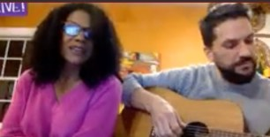 "Audra McDonald and Will Swenson ""We have shelter, we have each other, and that's all we know,"" she said and then sang ""Smile"" while he played guitar."