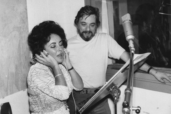 Sondheim with Elizabeth Taylor recording A Little Night Music in 1976
