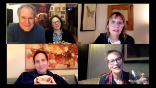 Clockwise from top left: Jay O. Sanders, Maryann Plunkett, Sally Murphy, Laila Robins, and Stephen Kunken in the livestreamed world premiere of the Apple Family Play, What Do We Need To Talk About?, written and directed by Richard Nelson.
