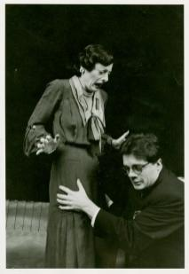 """Dana Ivey with Nathan Lane as Roland Maule, an aspiring young playwright from Uckfield, in the 1982 revival of Noel Coward's""""Present Laughter,"""" which marked Lane's Broadway debut."""