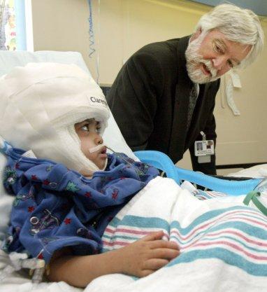 Dr. James Goodrich with a patient