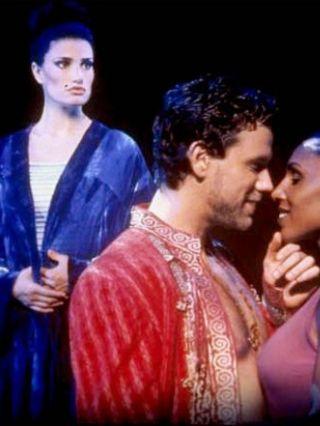 Idina Menzel as Amneris in Aida, with Adam Pascal and Maya Days