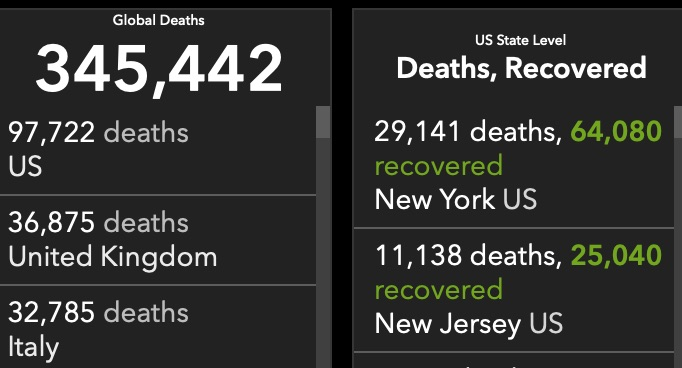 Global and U.S. deaths from COVID-19 as of May 25, 2020