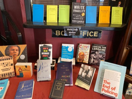 Table of books in front of the box office. It will have to be removed when the theater reopens.