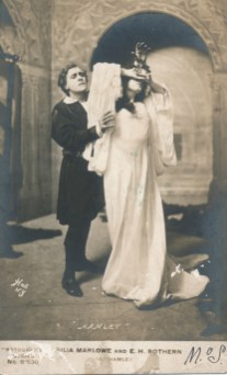 """E.H. Sothern as Hamlet and Julia Marlowe as Ophelia, sometime after 1904. A famous acting couple even before they were married (which they did in 1911) they performed together in some dozen productions of """"Hamlet"""" over two decades. A possibly apocryphal story has it that during the first week of Sothern's first production of """"Hamlet"""" in New York, in 1900, he was stabbed in the foot by Laertes' sword and was stricken with blood poisoning, thus forced to close the production."""