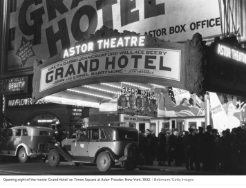 By 1925, the Astor Theater has been turned into a movie theater, the site of such grand film premieres as Grand Hotel, in 1938