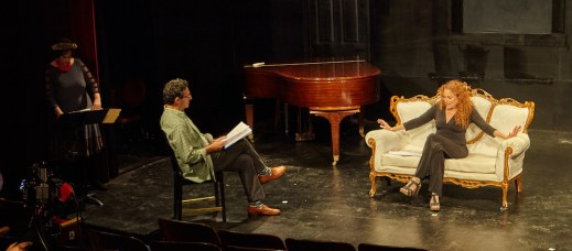 """FFT Founder Susan Charlotte reading stage directions to Stephen Schnetzer and Jodie Markell performing Charlotte's """"Come On."""" Photo by James Salzano"""