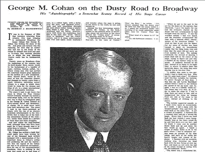George M. Cohan review page