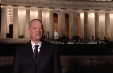 two monuments: Tom Hanks and the Lincoln Memorial