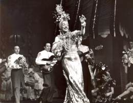 Carmen Miranda in one of her trademark costumes in a scene from Olsen and Johnson's SONS O' FUN at the Winter Garden Theatre, 1941. This was her second and final Broadway show before departing the stage for an extremely successful career in Hollywood.