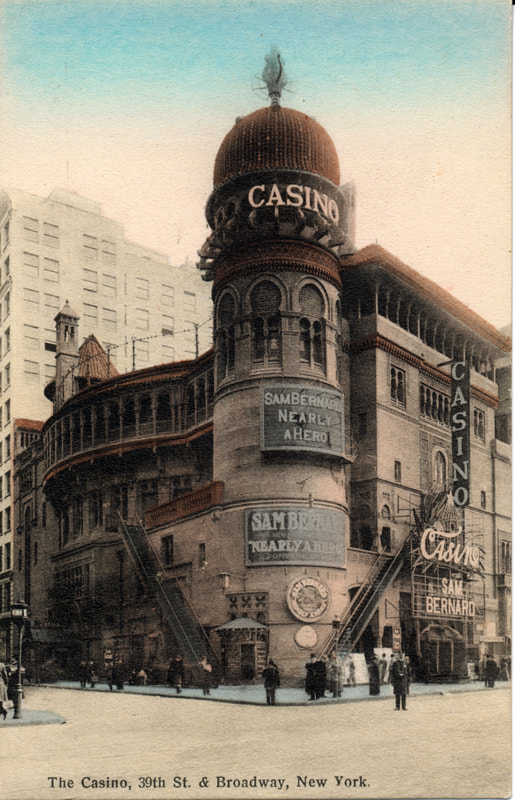 Casino Theatre, postcard, circa 1903. One of the earlier theatres leased by the Shuberts upon their arrival in New York City in 1900, the Casino, architecturally speaking, was a Moorish fantasy inside and out