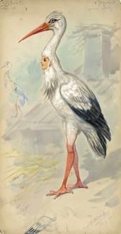 "Stork design by Alfredo Edel for the ""Land of the Birds"" ballet at the New York Hippodrome, 1908"