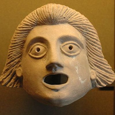 A theater mask created in the first century BCE