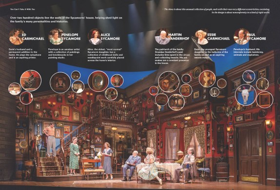 """over two hundred objects line the walls of the Sycmores' house, helping shed light on the family's many personalities and histories."" You Can't Take It With You, in collaboration with director Scott Ellis, Broadway, New York, 2014. Image credit: You Can't Take It Broadway LLC's production of You Can't Take It With You (2014) / Photos by Paul Warchol (pages 182-183)"