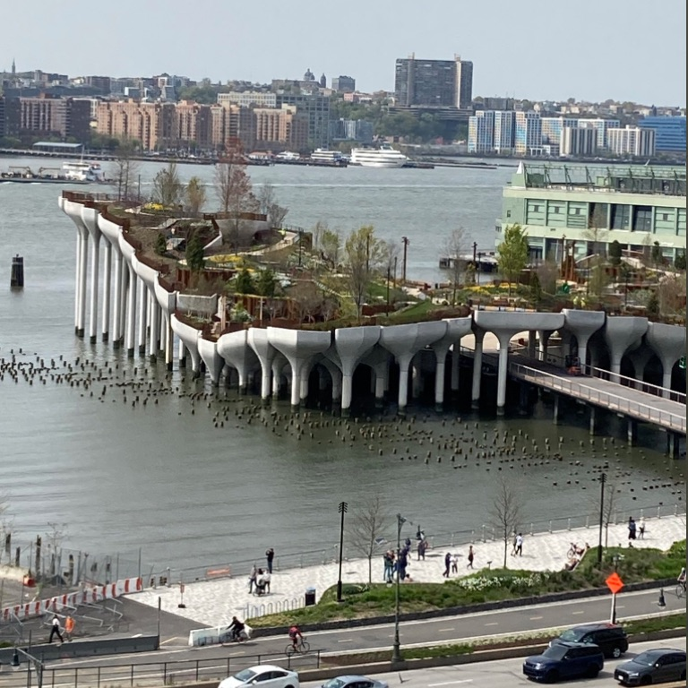 Little Island at Pier 55, scheduled to open in June, glimpsed over this Spring weekend.