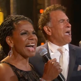 Audra McDonald (host of first half of the Tonys) sings duet with Brian Stokes Mitchell from Ragtime near the end of the four hours.
