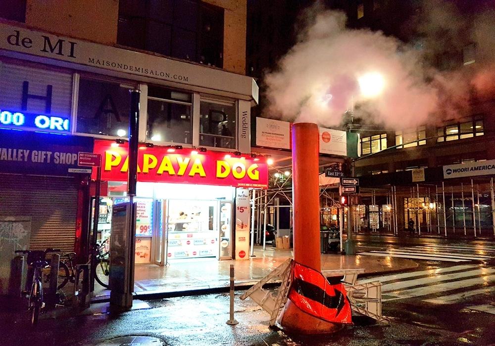 Les rues de Manhattan fument