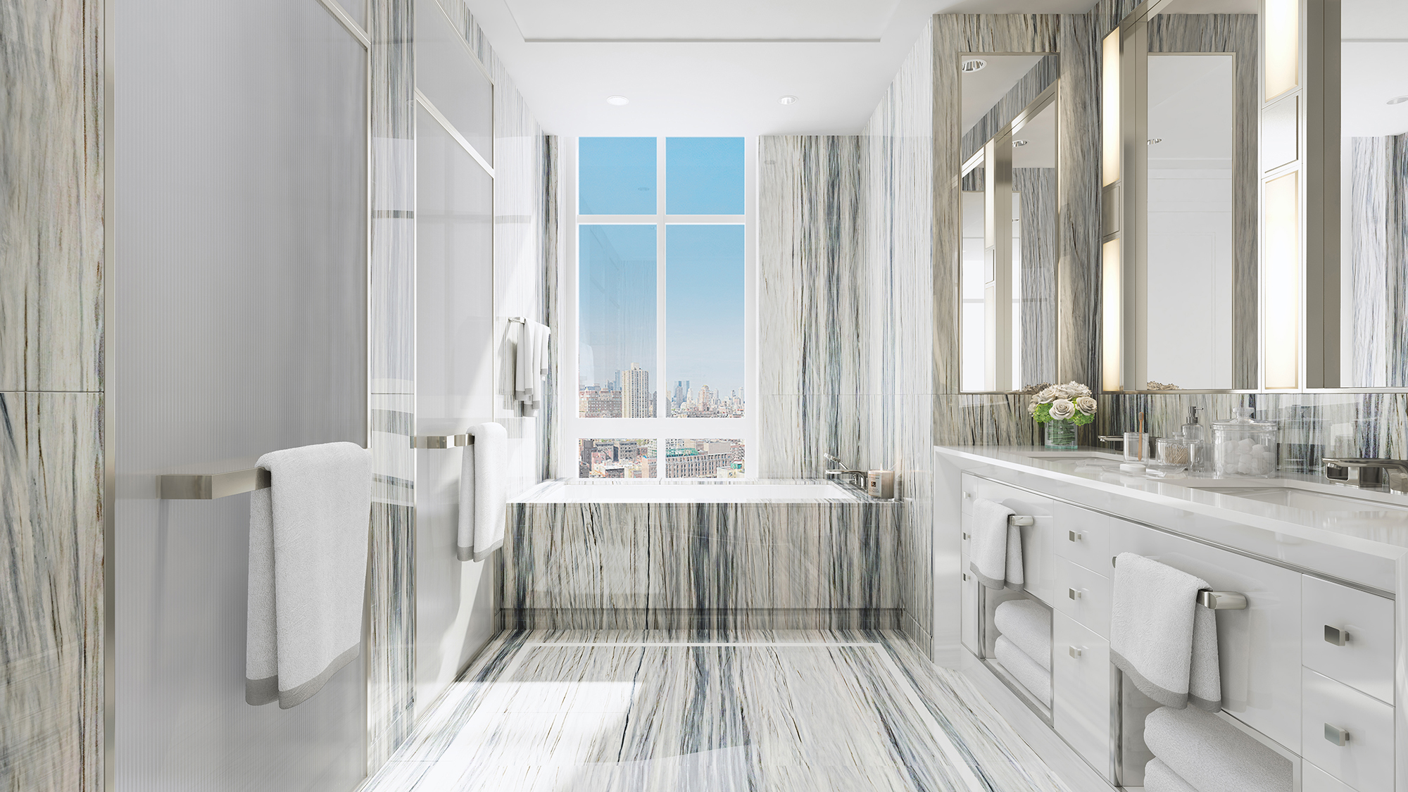 Rendering of a bathroom at The Kent, 200 East 95th Street