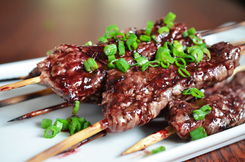 Smashed Steak Cherry BBQ Skewers