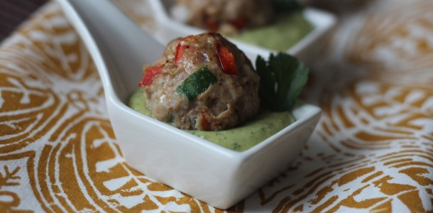 Meatballs with Creamy Coriander Dip
