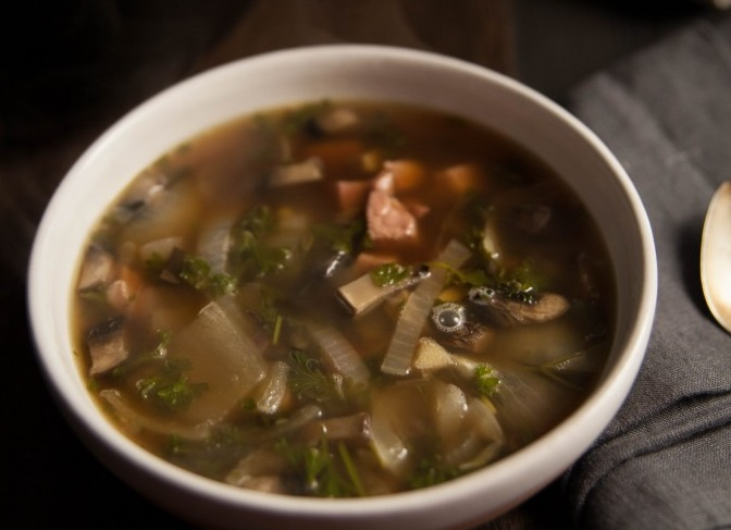 Lemon Mushroom Turkey Soup