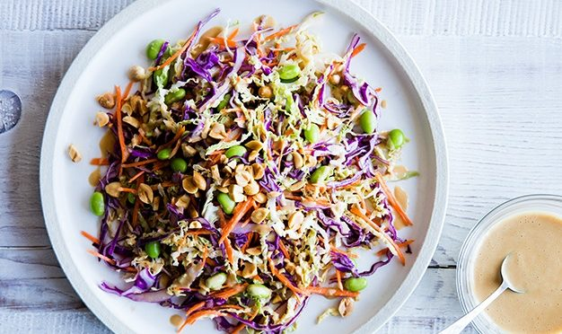 Rainbow Salad with Spicy Peanut Butter Dressing