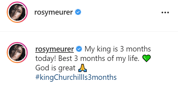 """""""Best 3 months of my life"""" - Rosy Meurer celebrates son as he clocks three months old (Video)"""