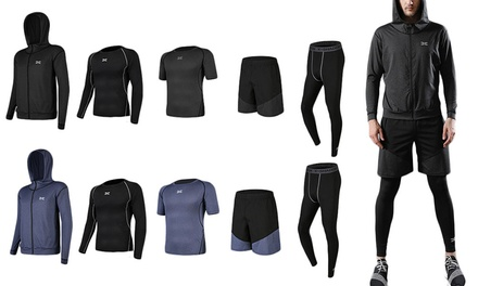 Mens Five Piece Compression Workout Set: One ($49) or Two Sets ($94)